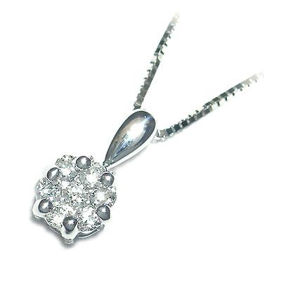 ( 4月誕生石 ) K18ホワイトゴールドダイヤモンドペンダントネックレス(お花モチーフ) 【DEAL】