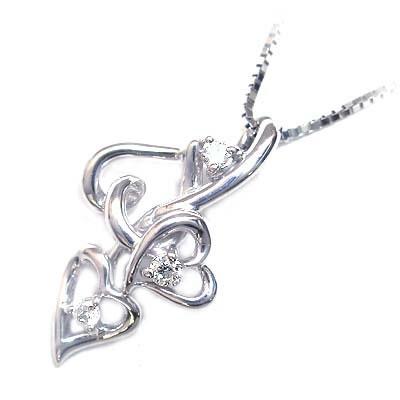 ( 4月誕生石 ) K18ホワイトゴールド ダイヤモンドペンダントネックレス(ハートモチーフ)【DEAL】