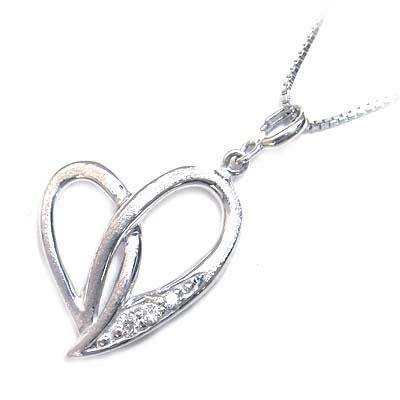 ( 4月誕生石 ) K18ホワイトゴールド ダイヤモンドペンダントネックレス(ハートモチーフ) 【DEAL】