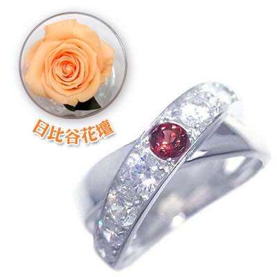 ( 1月誕生石 ) K18ホワイトゴールドガーネット・ダイヤモンドリング(母の日 限定 日比谷花壇誕生色バラ付)