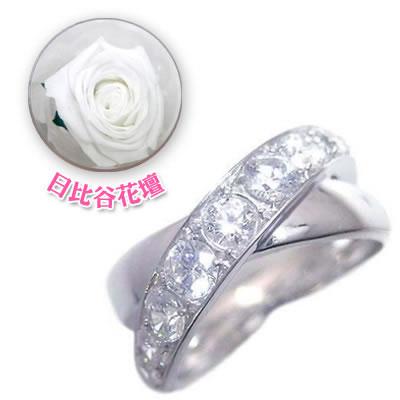 ( 4月誕生石 ) K18ホワイトゴールドダイヤモンドリング(母の日 限定 日比谷花壇誕生色バラ付)