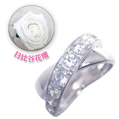 ( 6月誕生石 ) K18ホワイトゴールドムーンストーン・ダイヤモンドリング(母の日 限定 日比谷花壇誕生色バラ付)