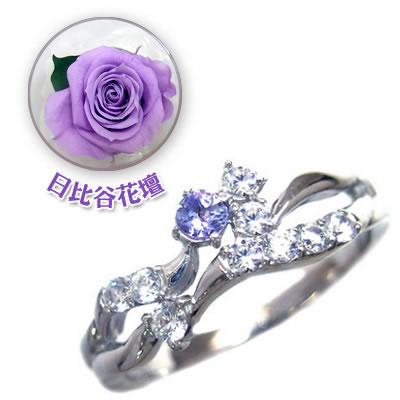 ( 12月誕生石 ) K18ホワイトゴールド タンザナイト・ダイヤモンドリング(母の日 限定 日比谷花壇誕生色バラ付) 【DEAL】