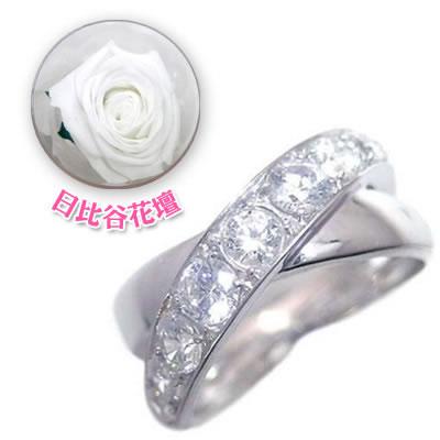 ( 4月誕生石 ) プラチナダイヤモンドリング(母の日 限定 日比谷花壇誕生色バラ付)