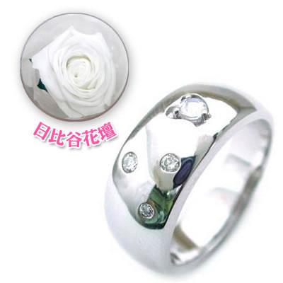 ( 6月誕生石 ) K18WG ムーンストーン・ダイヤモンドリング(母の日 限定 日比谷花壇誕生色バラ付)【DEAL】