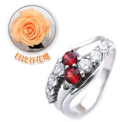 ( 1月誕生石 ) Pt ガーネット・ダイヤモンドリング(結婚10周年記念 )(母の日 限定 日比谷花壇誕生色バラ付)【DEAL】