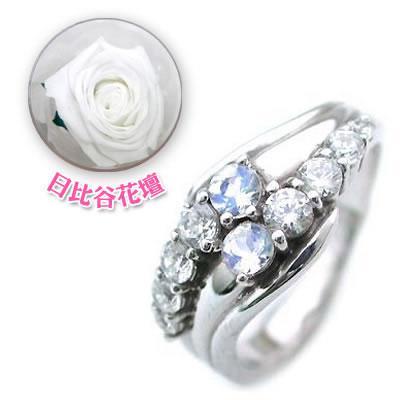 ( 6月誕生石 ) Pt ムーンストーン・ダイヤモンドリング(結婚10周年記念 )(母の日 限定 日比谷花壇誕生色バラ付) 【DEAL】
