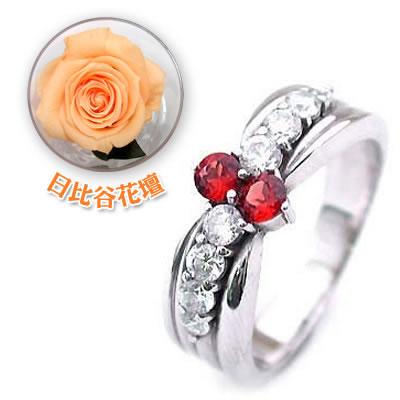 ( 1月誕生石 ) Pt ガーネット・ダイヤモンドリング(結婚10周年記念 )(母の日 限定 日比谷花壇誕生色バラ付) 【DEAL】