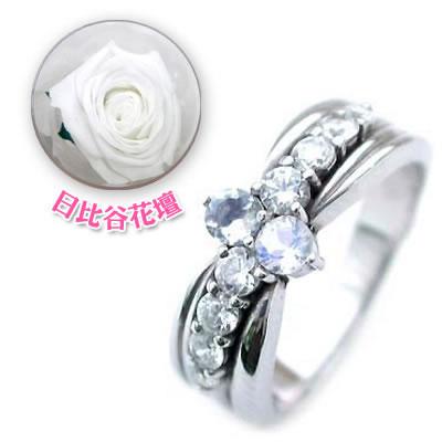( 6月誕生石 ) Pt ムーンストーン・ダイヤモンドリング(結婚10周年記念 )(母の日 限定 日比谷花壇誕生色バラ付)【DEAL】
