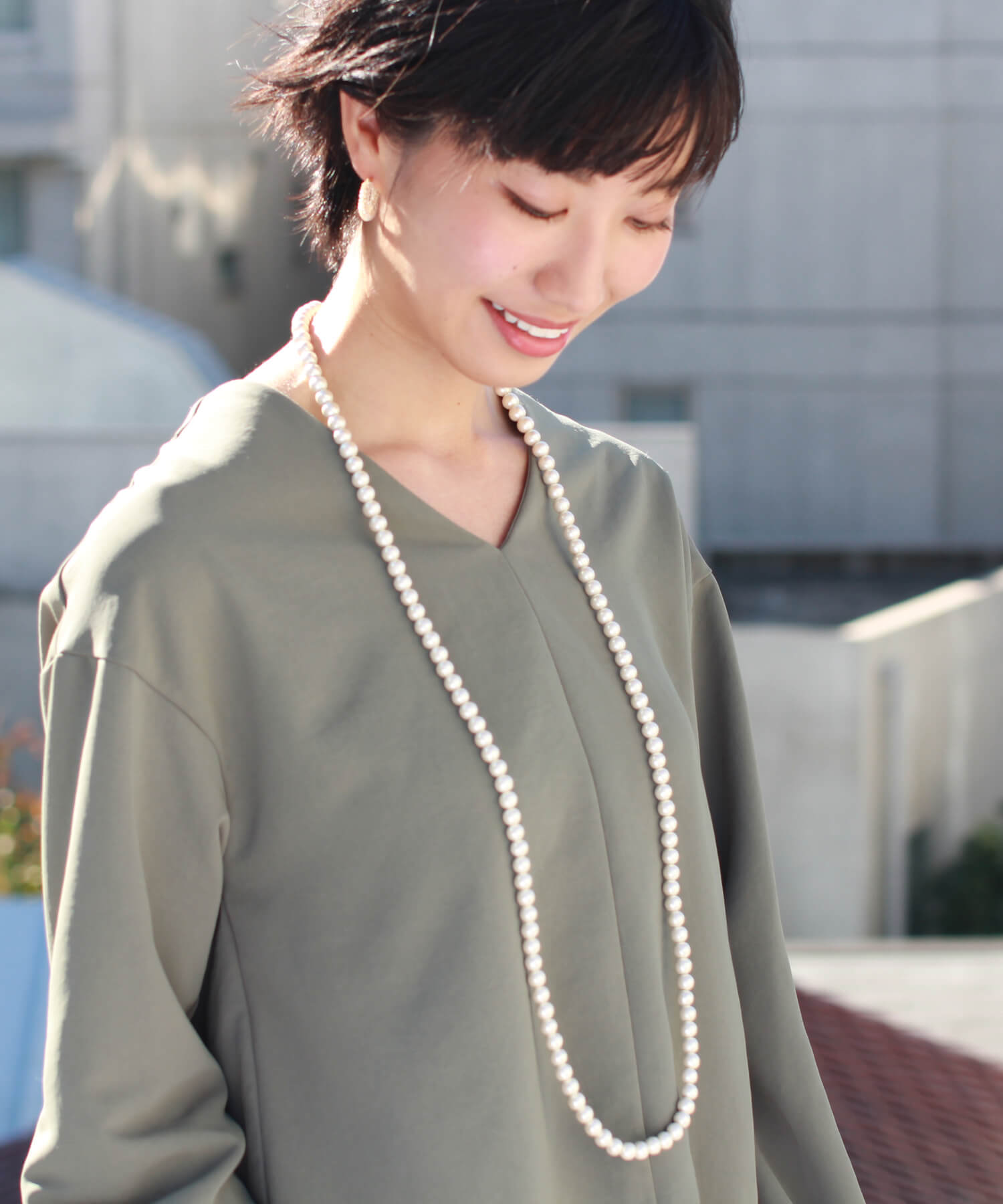 VERY month, SAKURA spring and summer magazine, GINGER December issue, Domani 11・8 issue and CLASSY September ★ JUICYROCK original ★ long necklace gold & Pearl Cotton Cotton Pearl Long Necklace