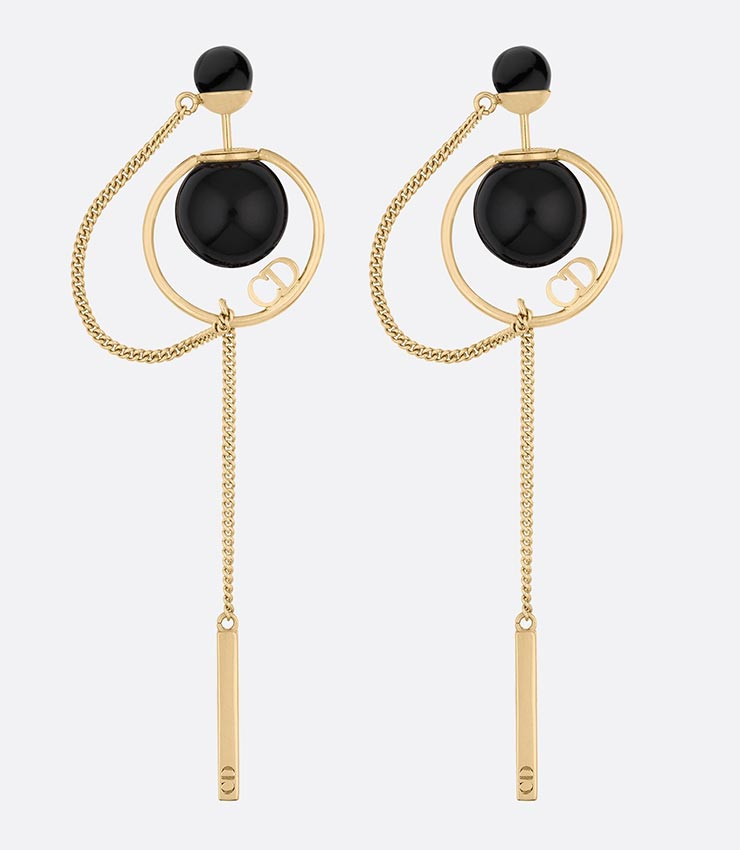 New Dior Pierced Earrings Try Baru Black X Gold Boucles D Oreilles Tribales France Fashion Accessories