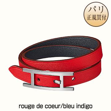 新品 エルメスHERMES レザーブレスレット【2020年春夏コレクション】ビーアピ ドゥブルトゥール ルージュ・ドゥ・クール/ブルー・インディゴ×パラディウムプレーテッド Bracelet Behapi Double Tour rouge de coeur/bleu indigo [フランス・ファッション] H064647CKCA