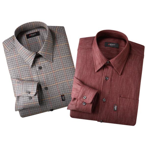 カシミヤ入りシャツ 2色組