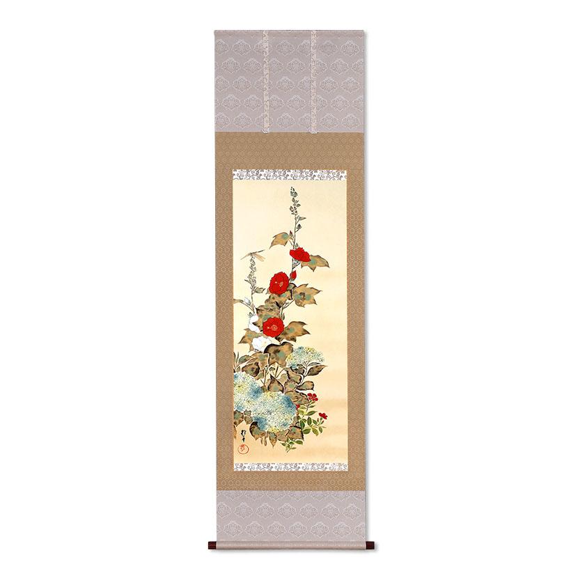 複製掛軸 酒井抱一 「十二か月花鳥図」 六月 「立葵紫陽花に蜻蛉図」