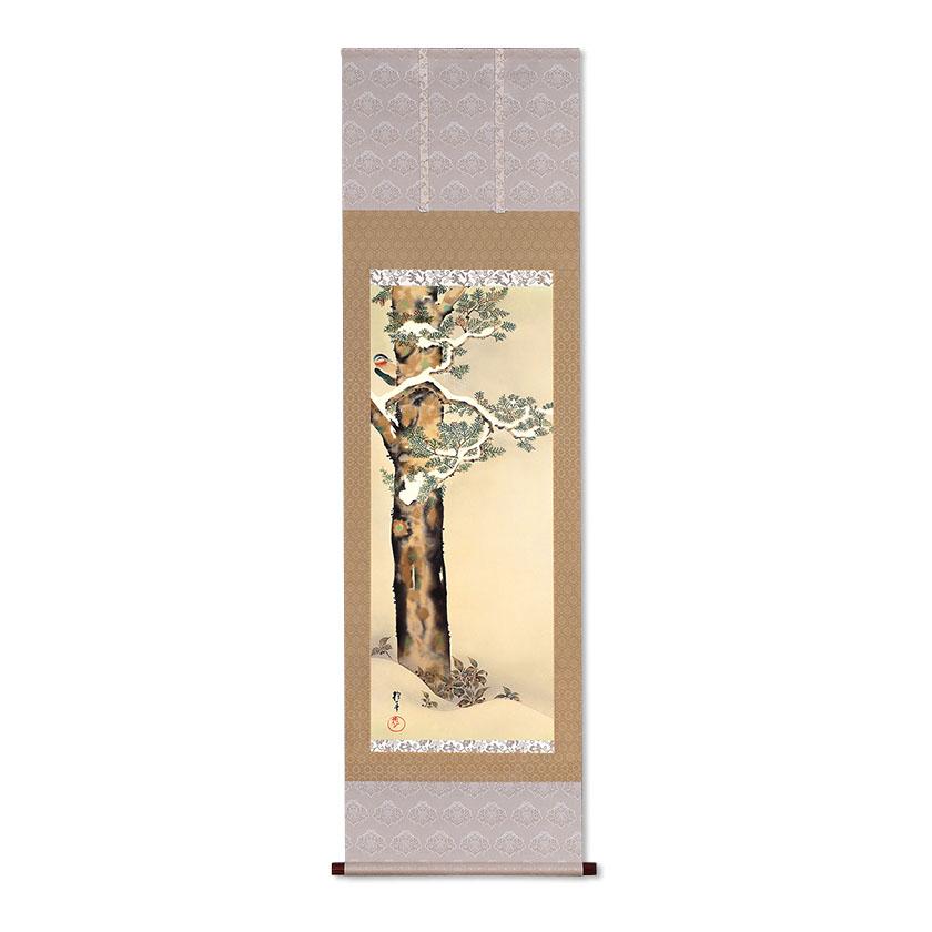 複製掛軸 酒井抱一 「十二か月花鳥図」 十二月 「檜に啄木図」