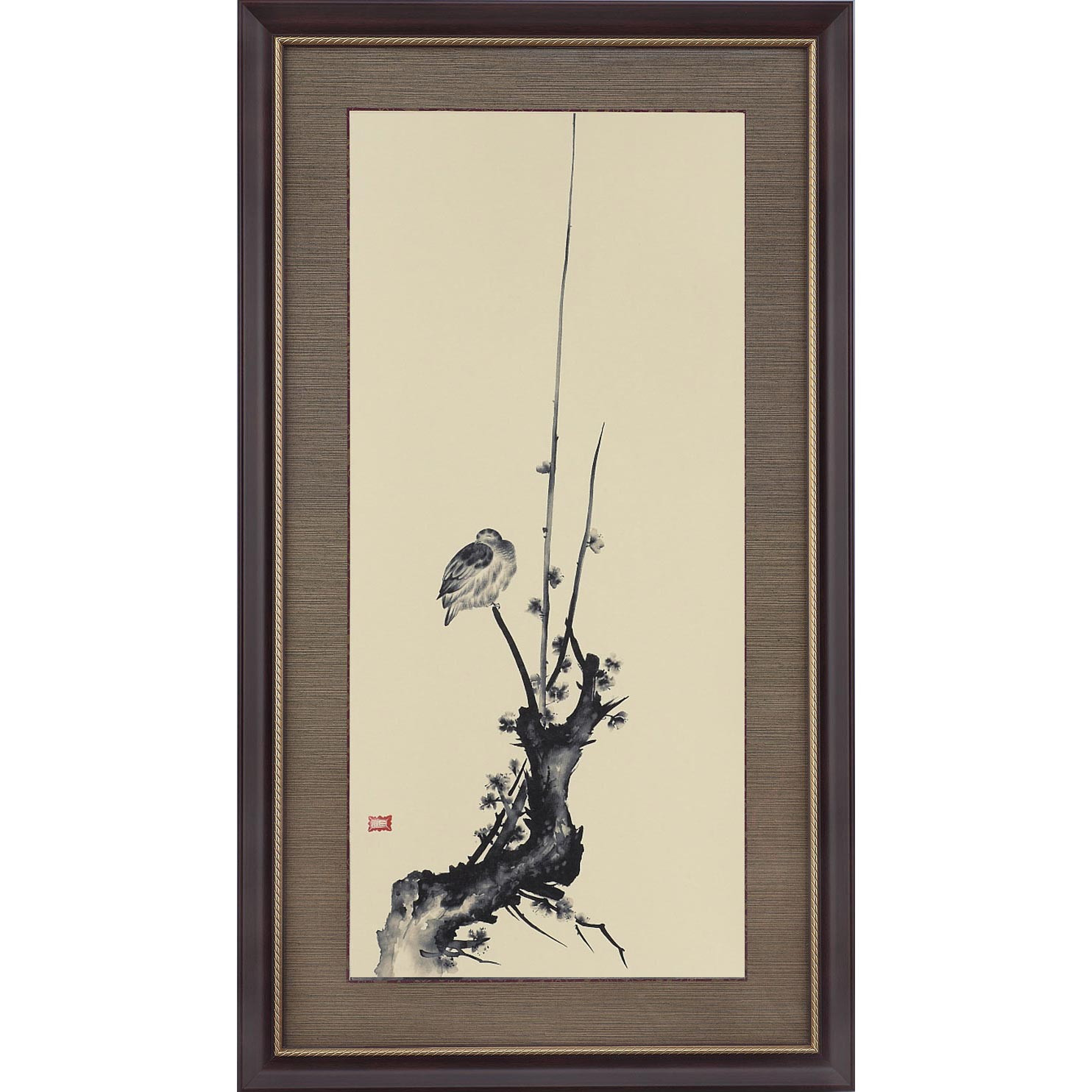 宮本武蔵 紅梅鳩図 複製絵画 額装 美術品 レプリカ