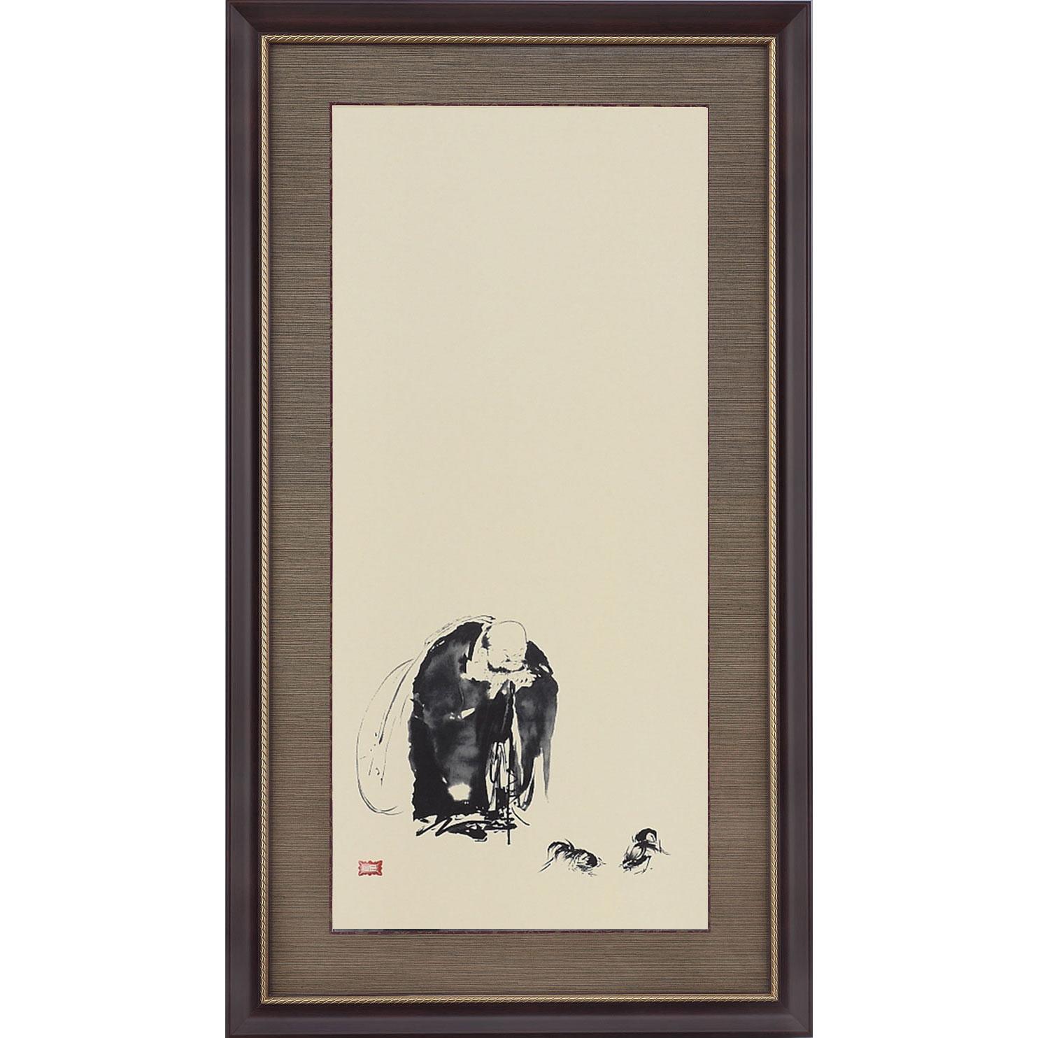 宮本武蔵 布袋観闘鶏図 複製絵画 額装 美術品 レプリカ