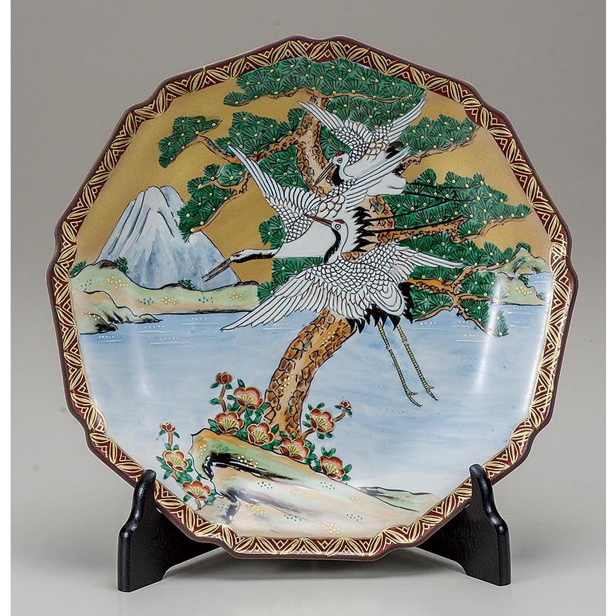 九谷焼き 富士に鶴・飾皿 大雅