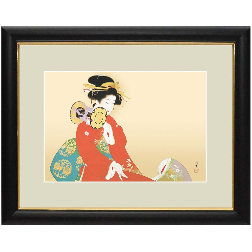 上村松園 作品 「鼓の音」 額装 壁掛け インテリア
