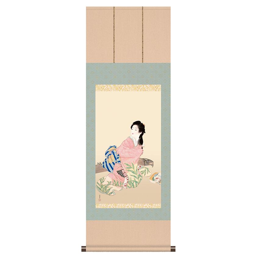 上村松園 作品 「娘深雪」 掛軸 インテリア