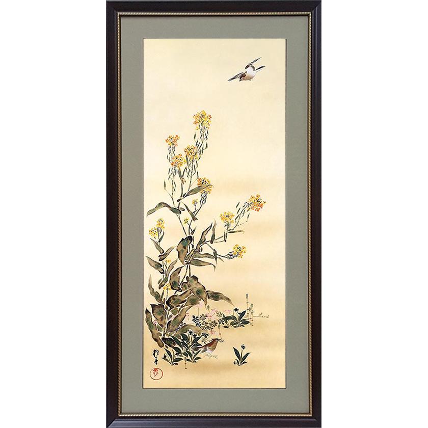 酒井抱一 「十二か月花鳥図」 二月 菜花に雲雀図 額装