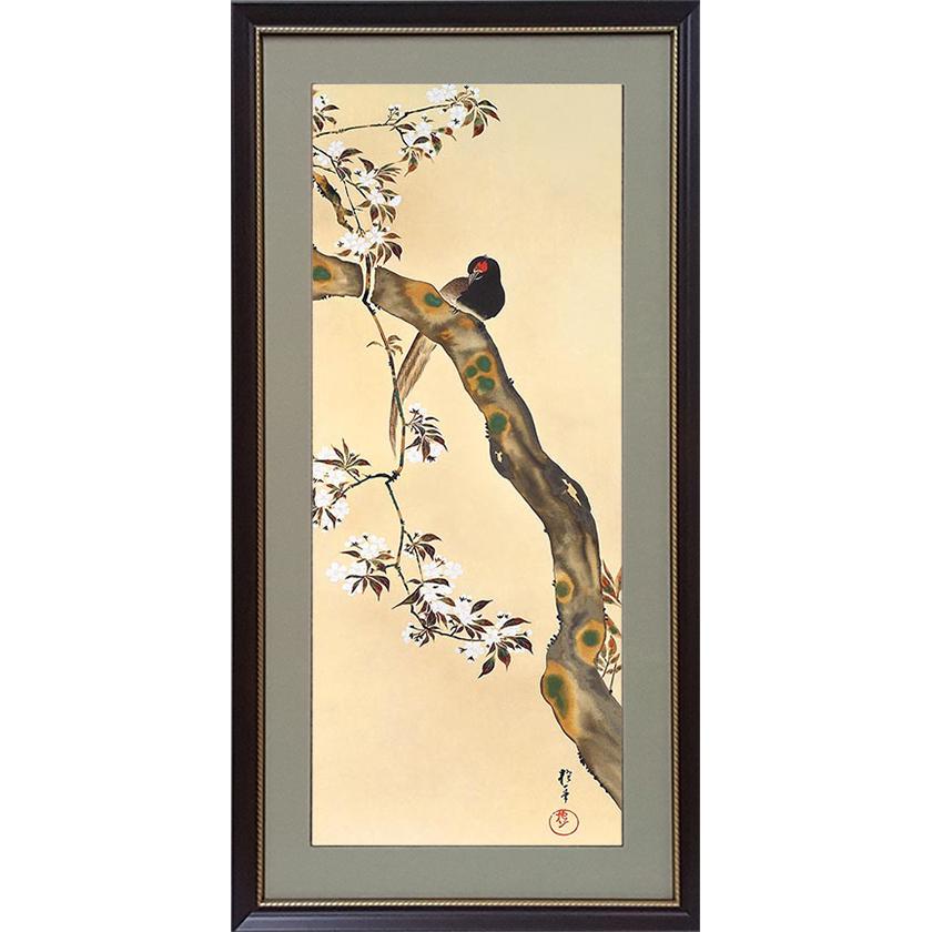 酒井抱一 「十二か月花鳥図」 三月 桜に雉子図 額装
