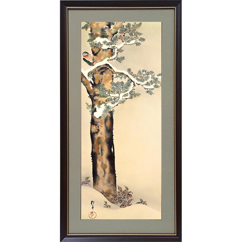江戸時代後期の絵師 酒井抱一の 花鳥十二ヶ月図 を複製名画 即納最大半額 酒井抱一 額装 檜に啄木図 十二か月花鳥図 特価品コーナー☆ 十二月