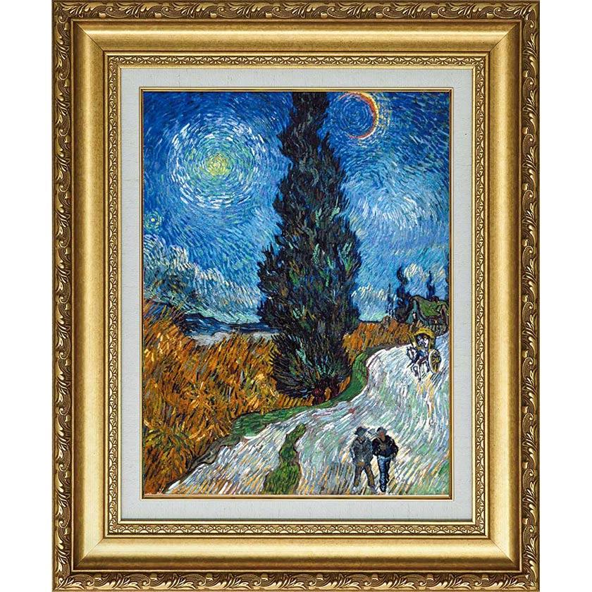ゴッホ 複製名画 「糸杉と星の見える道」 美術品 絵画