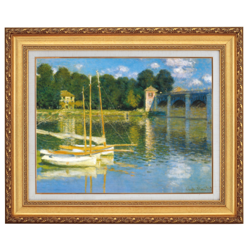 色彩分割技法を駆使し印象主義的表現 モネ アルジャントゥイユの橋 F10号 立体複製名画 美術品 レプリカ