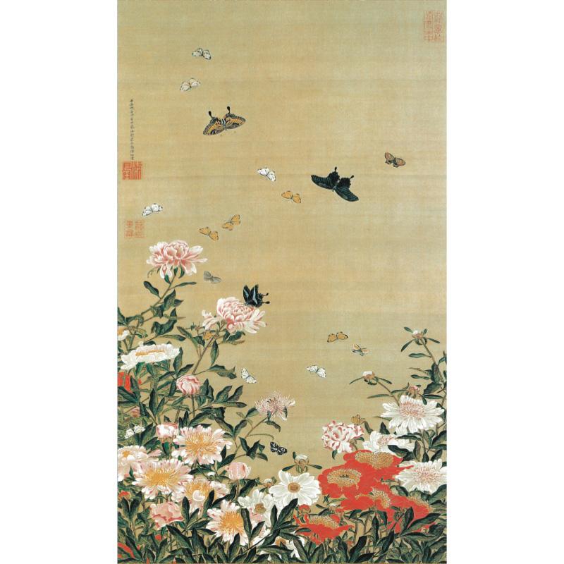 白、赤、ピンクに咲く芍薬の花々 伊藤若冲 動植綵絵 芍薬群蝶図 高級仕様 掛軸 美術品 インテリア 作品 複製画