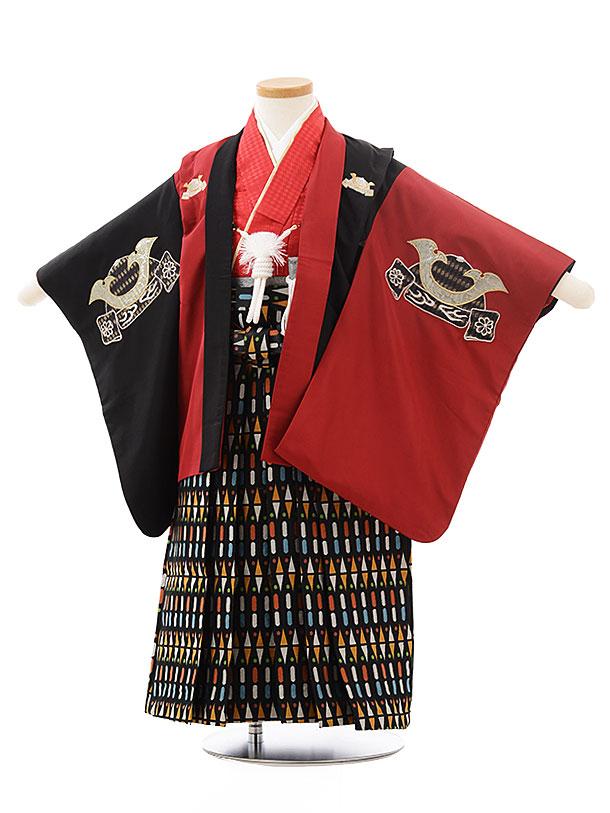 【レンタル】【袴】七五三 男の子 着物 0277 ひさかたろまん黒×赤に兜fy16REN07