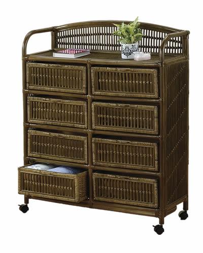 ラタン チェスト アンティーク ランドリーボックス E(引出し8杯タイプ): 籐家具 ラタンチェスト 収納 アジアン 高品質 送料無料 K-Style