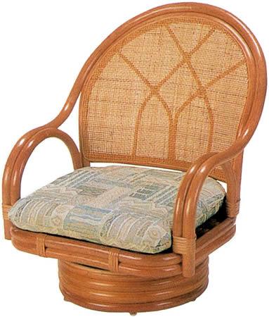 ラタンチェア ミドルタイプ 23S: 籐家具 ラタン 贈り物 プレゼント 回転 椅子 イス 送料無料 K-Style