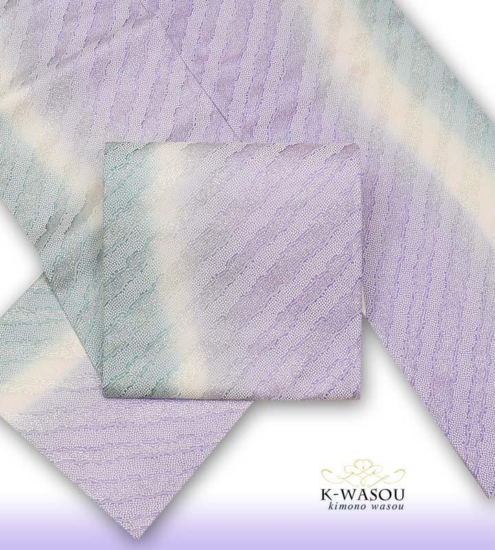 正絹 袋帯 新品 仕立て上がり 全通柄袋帯 ストライプ 新品 全通帯 お洒落着 セミフォーマル【袋帯 絹】a2