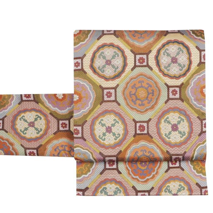 リサイクル 袋帯 正絹 未使用品 中古袋帯 紫茶地 格天井柄 a2m1m5【中古】全通柄 仕立て上がり 新古品 フォーマル帯 送料無料