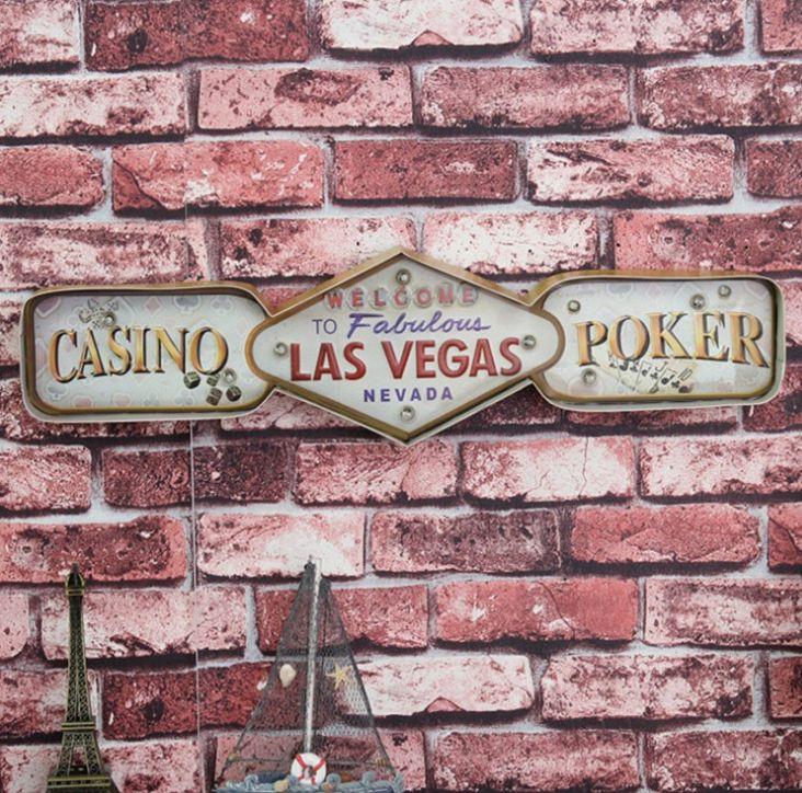 ラスベガス ポーカー カジノ ギャンブル 店舗 OPEN ブリキ 看板 LED ウォールサイン アメリカン レトロ ヴィンテージ デザイン