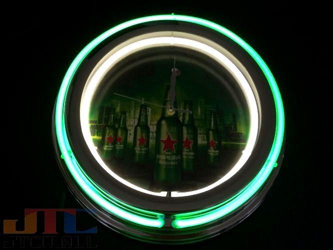 【Wネオン管ネオンクロックはメーカーの生産終了に伴い、今ある在庫限りで販売終了となります。】Heineken ハイネケン 2連ネオン クロック W ネオンクロック 時計 BAR Cafe ネオン管 ネオン看板