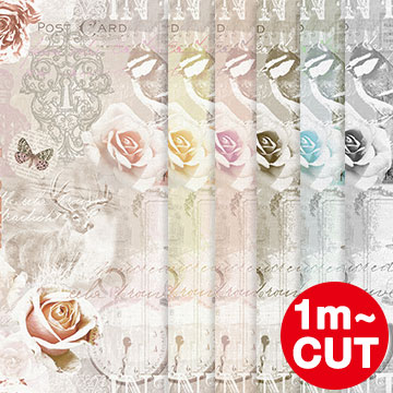 Non-woven CHARM ROSE charm rose, peelable fabric digital print wallpaper cut sale vintage antique retro floral rose English Butterfly key cage romantic!