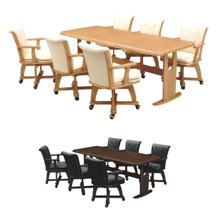 Dining Table Set Seven Points Six Seat Rotating Chair Casters Nordic テーブルセット