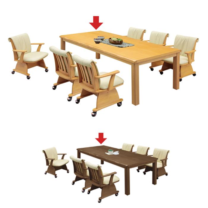 ダイニングこたつテーブル ダイニングテーブル こたつ 長方形 195 ハイタイプ 単品/ダイニングこたつ ダイニングコタツ 6人用 6人掛け 195×90 布団なし 家具   おしゃれ ブラウン ナチュラル アウトレット セール