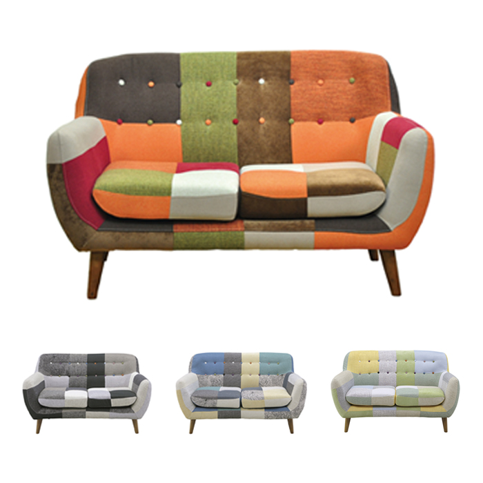 Sofa Two Seat Scandinavian Fashionable Colorful Completed Patchwork People 2 Person Furniture Ikea