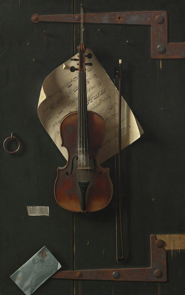 油絵 油彩画 絵画 複製画 ウィリアム・マイケル・ハーネット 古いヴァイオリン M10サイズ M10号 530x333mm すぐに飾れる豪華額縁付きキャンバス