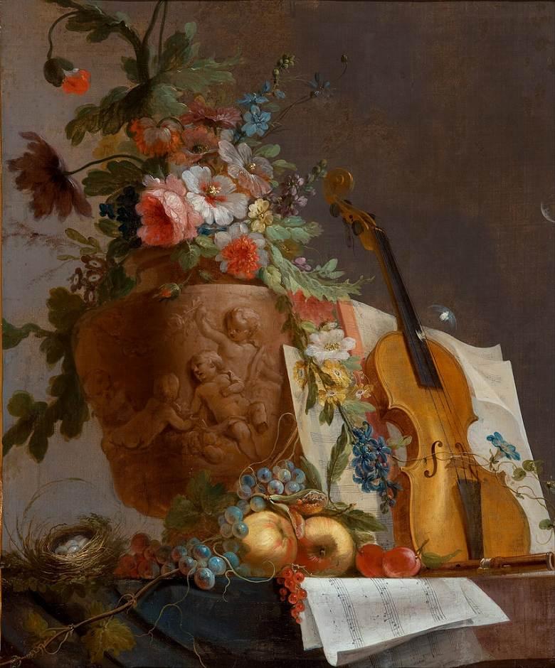 絵画 インテリア 額入り 壁掛け複製油絵ジャン=ジャック・バシュリエ 花とヴァイオリンのある静物 F20サイズ F20号 727x606mm 絵画 インテリア 額入り 壁掛け 油絵