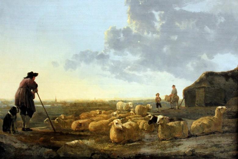 絵画 インテリア 額入り 壁掛け複製油絵アルベルト・カイプ 羊の群れ M20サイズ M20号 727x500mm 絵画 インテリア 額入り 壁掛け 油絵