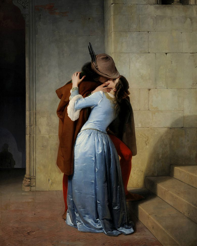 油絵 油彩画 絵画 複製画 フランチェスコ・アイエツ キス F10サイズ F10号 530x455mm すぐに飾れる豪華額縁付きキャンバス