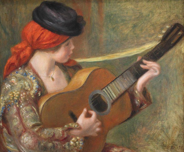 絵画 インテリア 額入り 壁掛け複製油絵ピエール=オーギュスト・ルノワール ギターを持った若いスペイン女性 F20サイズ F20号 727x606mm 絵画 インテリア 額入り 壁掛け 油絵