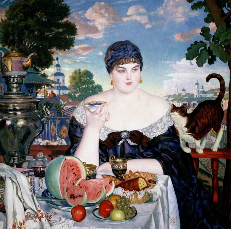 絵画 インテリア 額入り 壁掛け複製油絵 ボリス・クストーディエフ お茶を飲む商人の妻 F15サイズ F15号 652x530mm 油彩画 複製画 選べる額縁 選べるサイズ