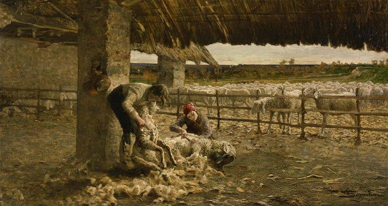 絵画 インテリア 額入り 壁掛け複製油絵ジョヴァンニ・セガンティーニ 羊の剪毛 F15サイズ F15号 652x530mm 油彩画 複製画 選べる額縁 選べるサイズ
