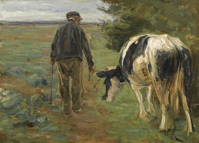 絵画 インテリア 額入り 壁掛け複製油絵 マックス・リーバーマン 農民と牛 P20サイズ P20号 727x530mm 絵画 インテリア 額入り 壁掛け 油絵