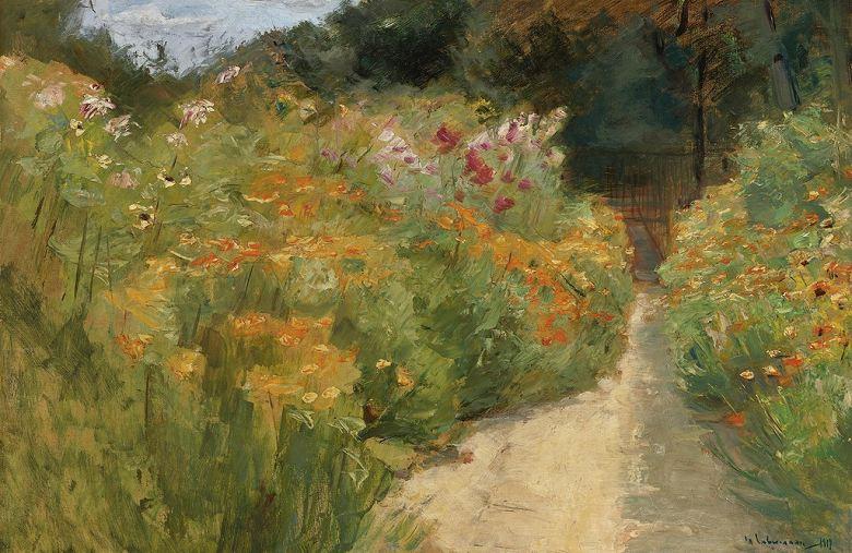 絵画 インテリア 額入り 壁掛け複製油絵 マックス・リーバーマン 庭園の花 M15サイズ M15号 652x455mm 油彩画 複製画 選べる額縁 選べるサイズ